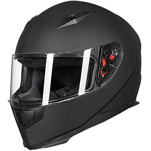 ILM Full Face Motorcycle Street Bike Helmet with Removable Winter Neck Scarf + 2 Visors DOT (L, Matte Black). For product info go to:  https://www.caraccessoriesonlinemarket.com/ilm-full-face-motorcycle-street-bike-helmet-with-removable-winter-neck-scarf-2-visors-dot-l-matte-black/