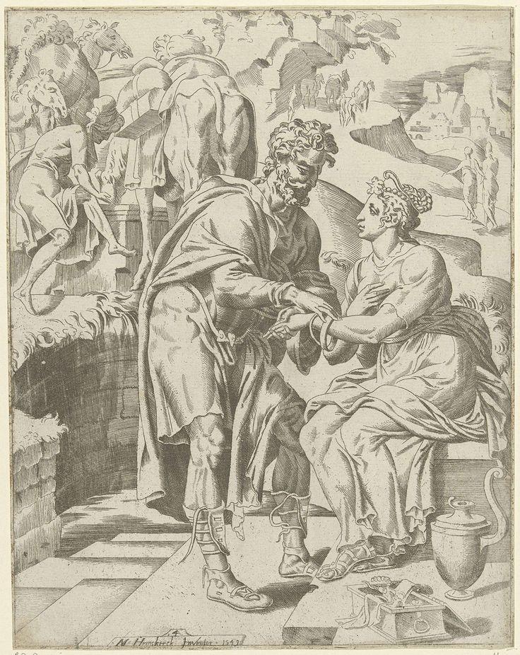 anoniem | Eliëzer geeft Rebekka twee gouden armbanden, attributed to Dirck Volckertsz Coornhert, 1549 | Nadat Eliëzer en zijn kamelen hebben gedronken biedt Eliëzier Rebekka twee gouden armbanden aan.  Op de achtergrond wijst Laban, Rebekka's broer Eliëzer de weg naar het ouderlijk huis. De prent maakt deel uit van een serie over Isaaks zoektocht naar een vrouw.