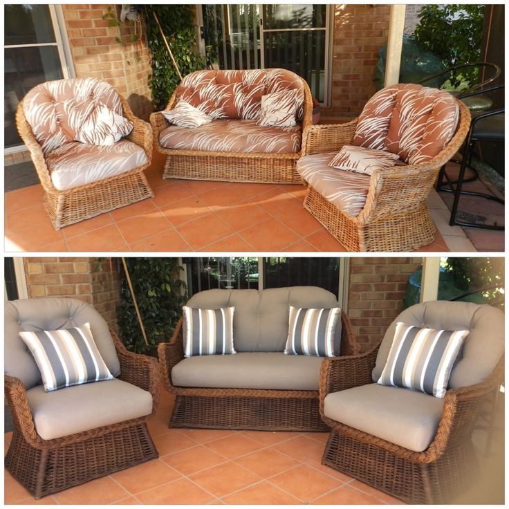 Reupholstered in quality warwick outdoor fabric . Cane stained in darker colour . Quality furniture never dates , this set is from the 80s .