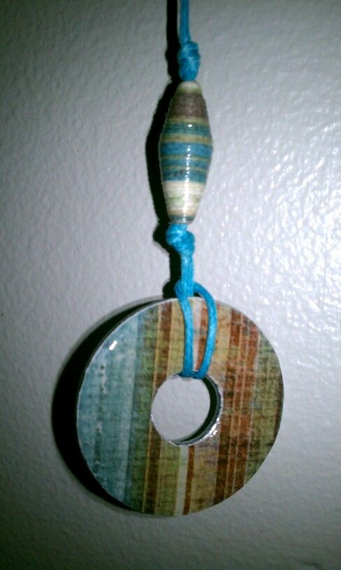 Washer & Paper Bead Necklace