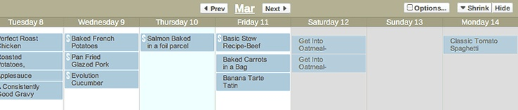 This is my favorite online meal planner. Can even sync with Google calendar or Outlook. :-) Win! Win!
