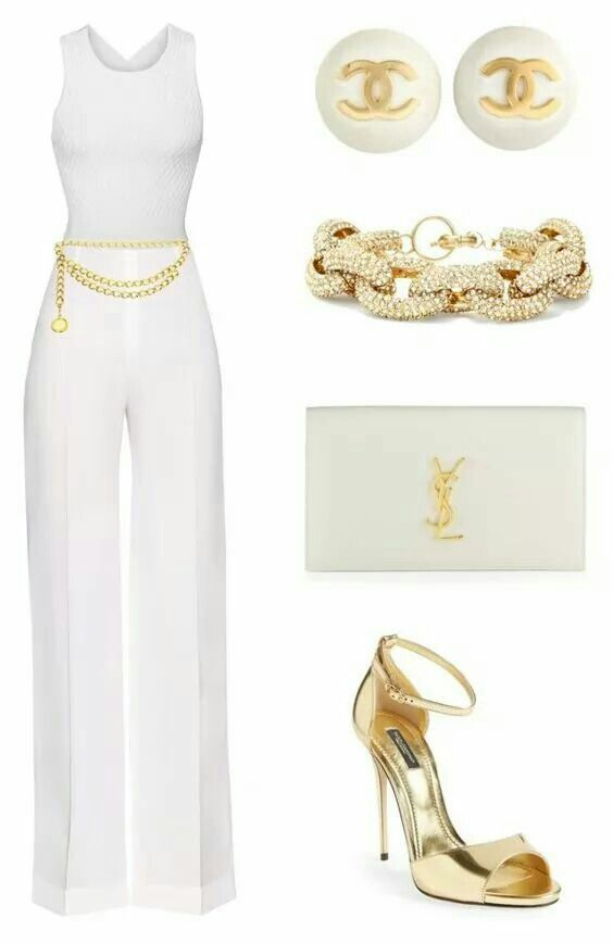 White and gold accessories