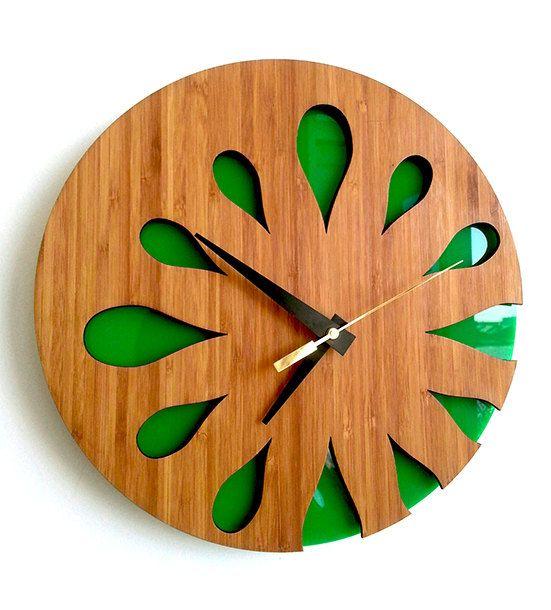 Bamboo Wall Clock Green Kiwi Fruit by MabelDesignsAU on Etsy, $59.00