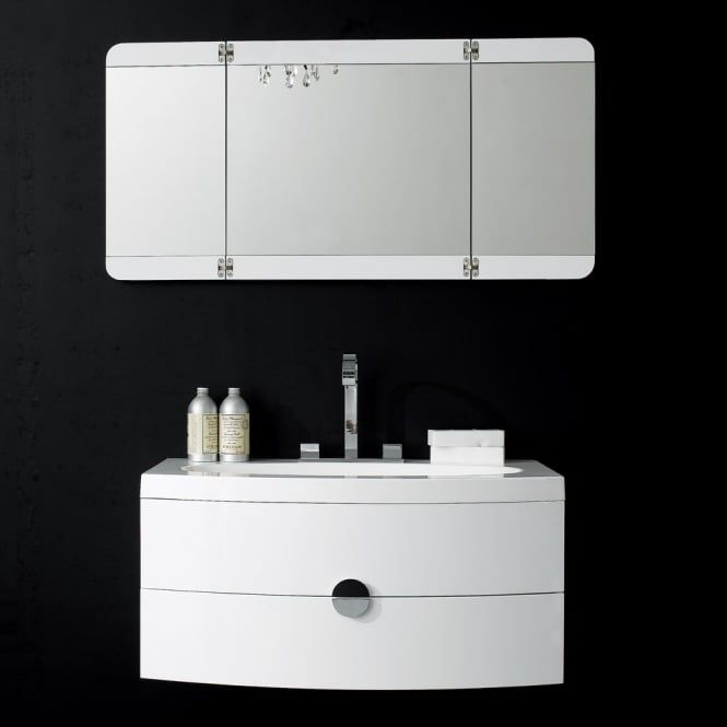 LUSSO STONE | Gloss white | Wall Mounted Vanity Unit | Curved front