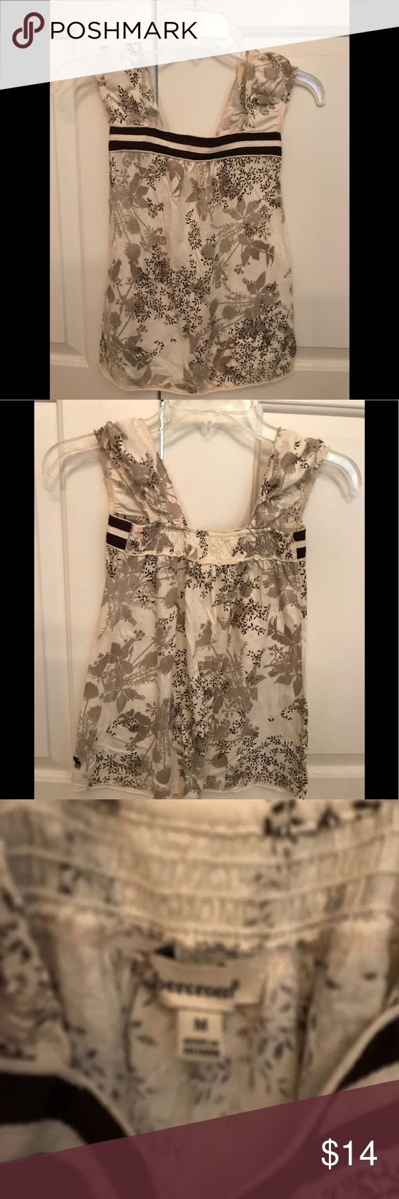 Abercrombie girl's top Sleeveless with wide strap, cream & light brown print abercrombie kids Shirts & Tops Tank Tops