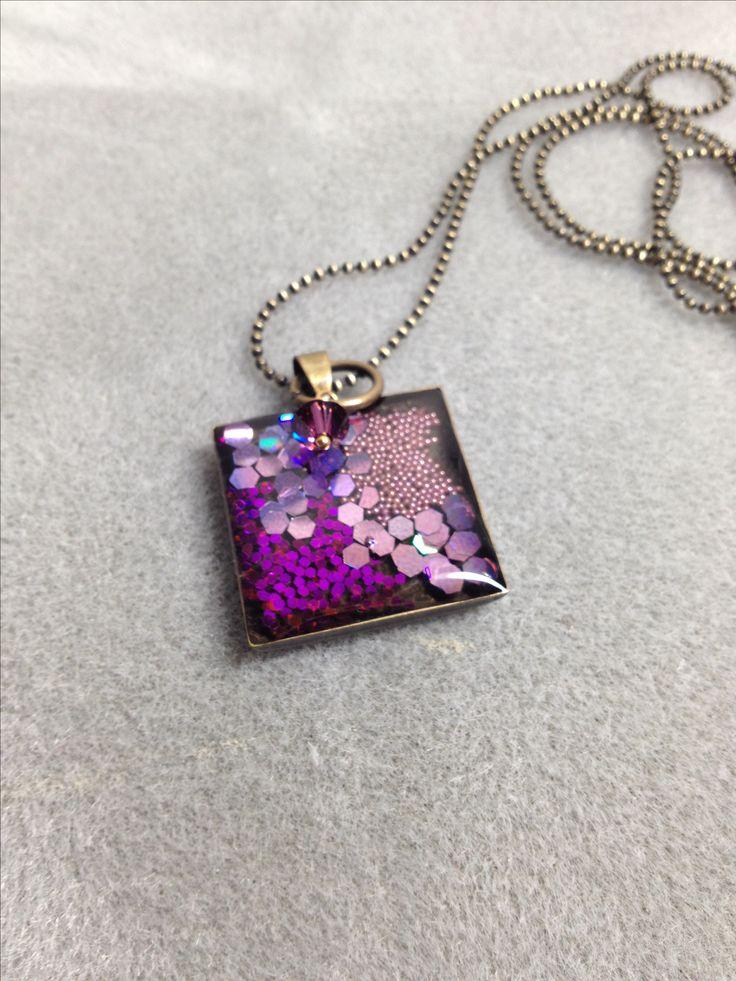 Purple glittery resin pendant