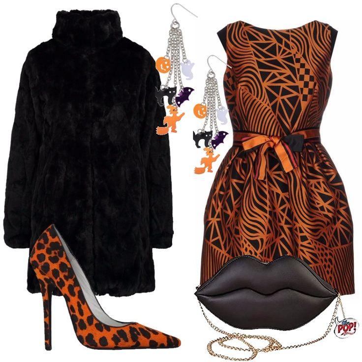 Prepariamoci per una serata di festa ! Cappotto corto nero in pelliccia sintetica, collo alla coreana, chiusura con gancetti, tasche anteriori, abbinato a vestito corto arancione in fantasia bicolore, collo tondo, senza maniche, cintura a fiocco, e gonna ampia. Décolleté arancione in cavallino, fantasia leopardata, punta stretta, tacco a stiletto, Pochette nera con tracolla in metallo. Orecchini a tema.