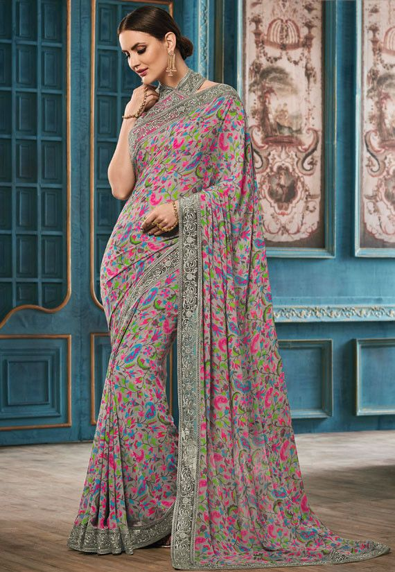 Grey Printed Georgette Saree