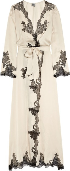 "Carine Gilson Beige Egérie Silksatin Robe. Worn by Berenice Marlohe in the 007 film ""Skyfall."""