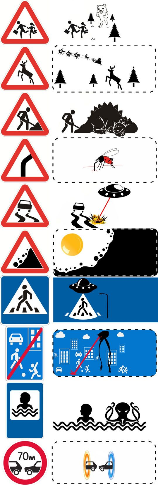 Road signs: out of frame