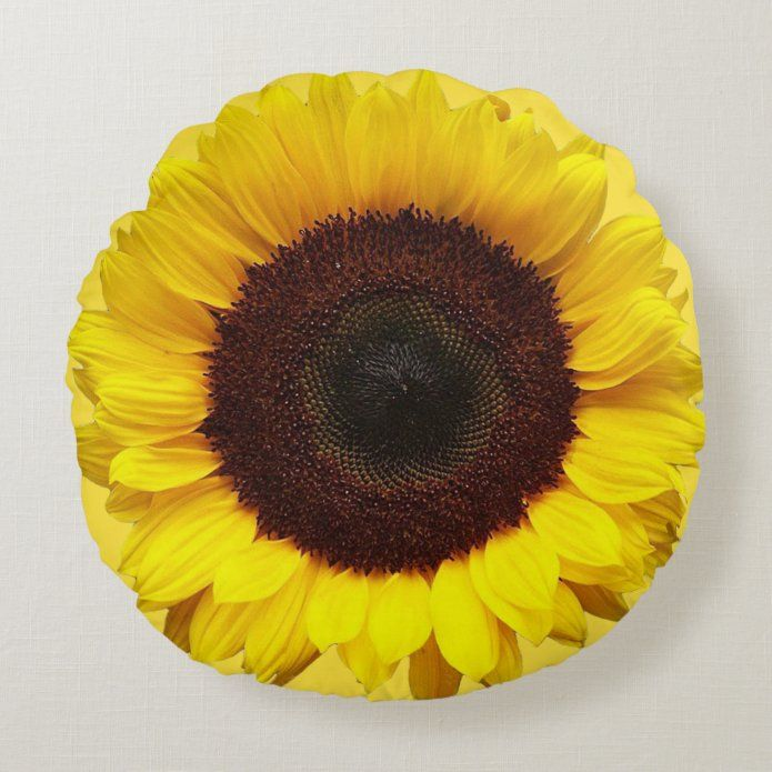 Giant Yellow Sunflower Round Pillow Tap Personalize Buy Right Now Sunflower Flower Yellow Garden In 2020 Round Pillow Yellow Sunflower Yellow Throw Pillows