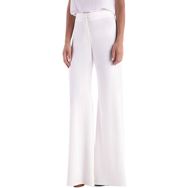 Anette White Palazzo Pants ($27) ❤ liked on Polyvore featuring pants, white wide leg pants, white wide leg trousers, wide leg pants, retro pants and palazzo pants