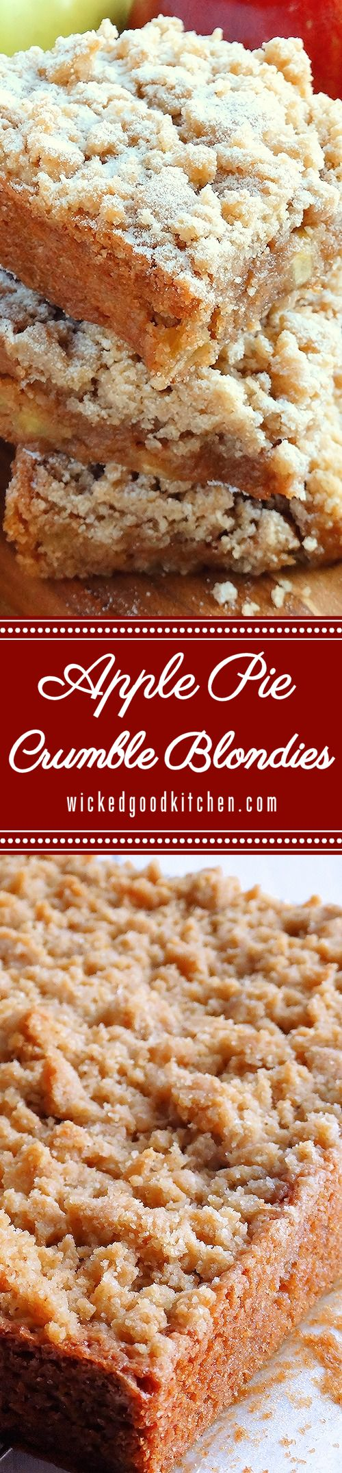 Fudgy and almost gooey Apple Pie Crumble Blondies are like a cross between Apple Crumble Pie and classic Blondies. (includes gluten free option) #Fall #Thanksgiving #Holidays
