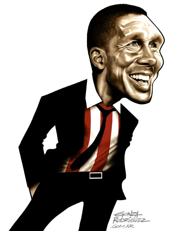 Caricatura del Cholo Simeone/Revista El Grafico/Argentina - Football Caricatures and Illustrations by Gonza Rodriguez, via Behance