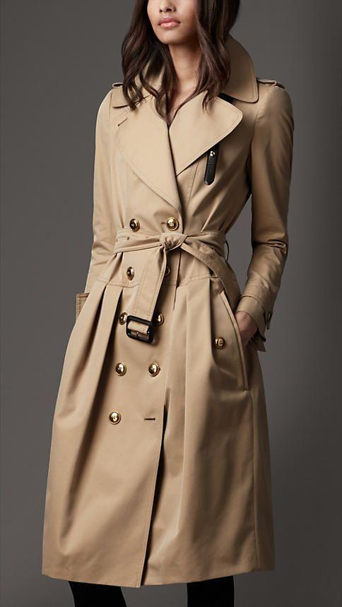 Burberry London Long Cotton Gabardine Leather Detail Trench Coat