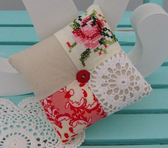 Patchwork and doily pincushion.
