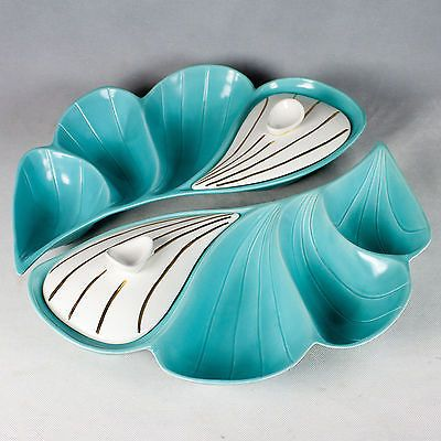 Vintage Mirmar #129 California Snack Serving Set Aqua Blue Mid Century Design