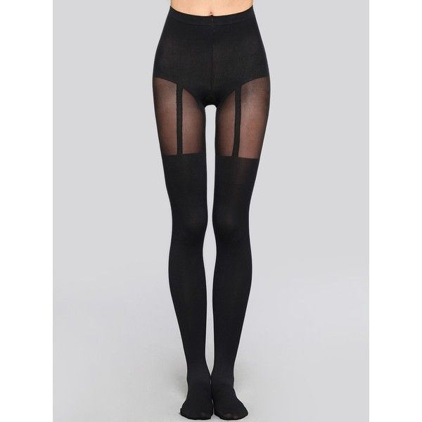 Over-The-Knee Suspender Tight ❤ liked on Polyvore featuring intimates, hosiery, tights, leggings, socks, opaque stockings, transparent tights, over the knee hosiery, sheer hosiery and sheer stockings