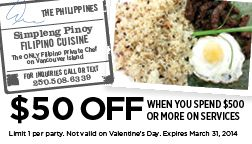 Simpleng Pinoy Private Chef Services on Vancouver Island - 50 OFF when you spend  $500 or more!