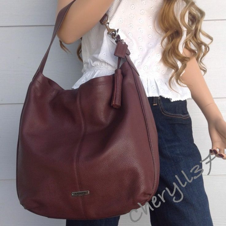 ... COACH Large Fig Brown Leather Tote Shoulder Hobo Bag Purse Handbag New  Nwt ... c966251144