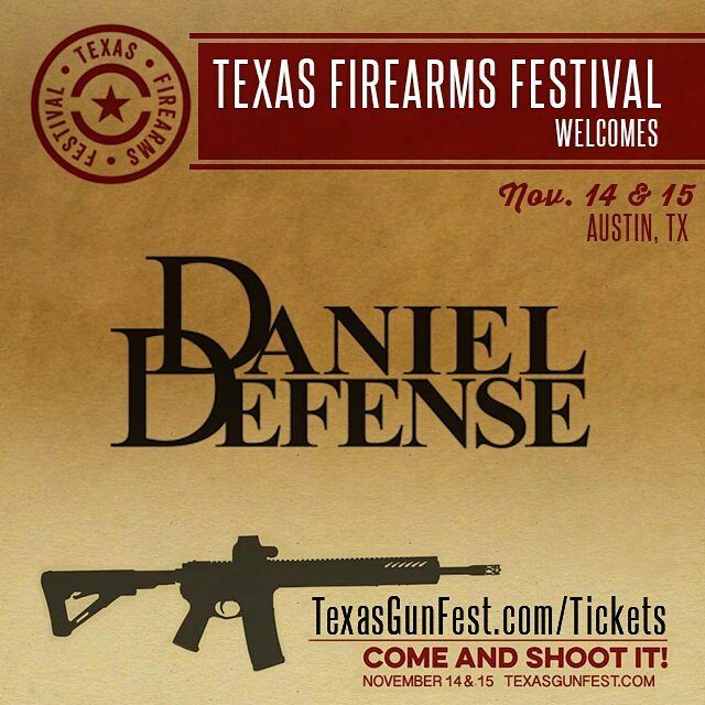 Come out to this years festival November 14th and 15th to shoot the newest rifles from Daniel Defense. Tickets are on sale now for just $60 for an all day pass with free ammo included! Prices change on Aug 1st. Get yours now at TexasGunfest.com