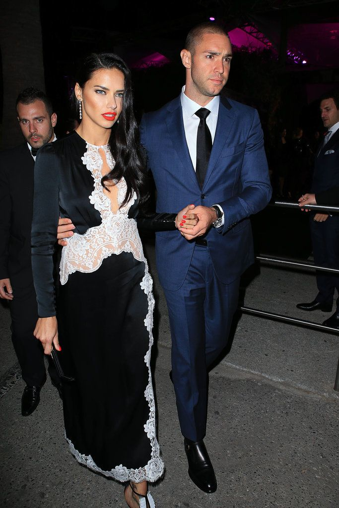 Adriana Lima and her boyfriend were just too cute for words at a party in Cannes