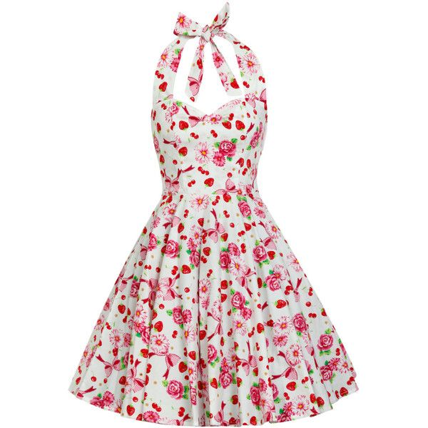 Sun Dress Summer Dress Fruit Strawberry Dress Floral Dress Party Dress... ($40) ❤ liked on Polyvore featuring dresses, white sundress, women plus size dresses, plus size beach dresses, floral sundress and plus size white sundress