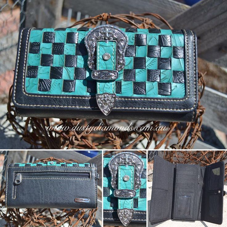Montana West Turquoise Checkered Wallet Www.dustydiamonds.com.au