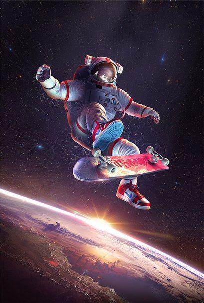 Skateboarding in space