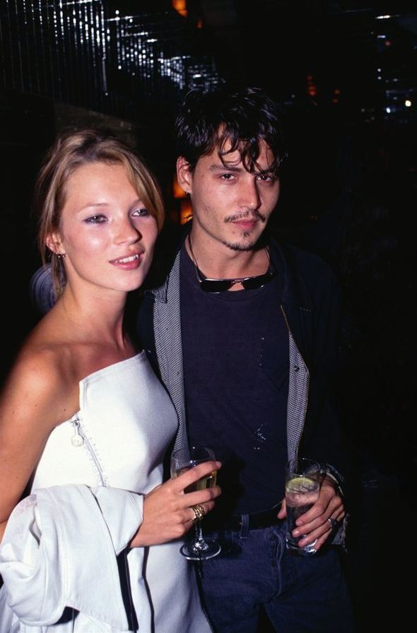 Kate Moss with Johnny Depp 1995