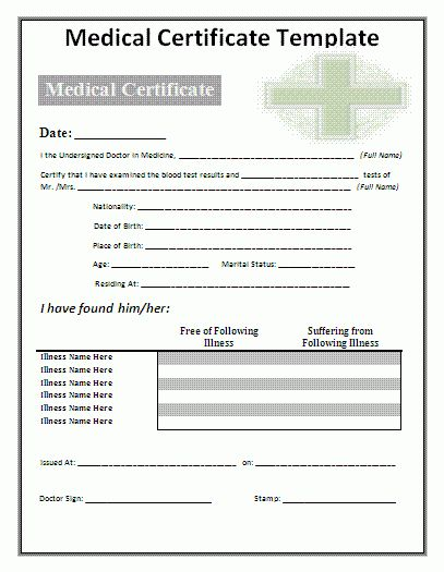 Sample Medical Certificates  Medical Certificate Templates Excel