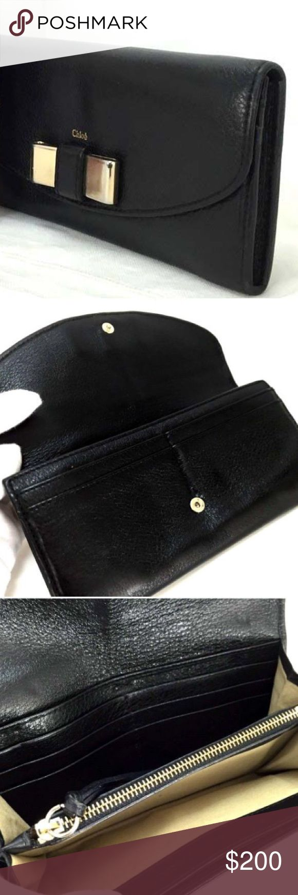 Black Chloe Lilly wallet Another vintage Chloe wallet that will always be super stylish. This is a black calfskin wallet by Chloe. There is some wear, but it is in overall good shape. Chloe Bags Wallets