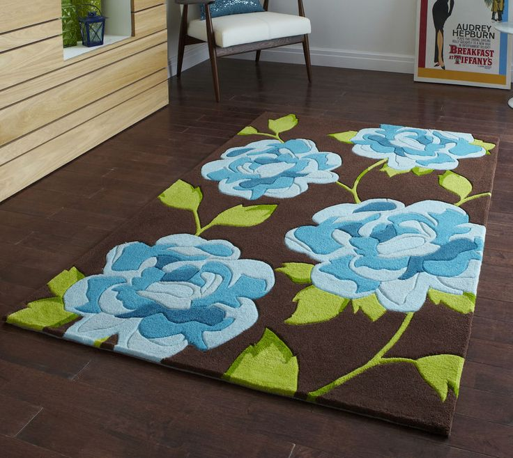 LAST ONE Modern Brown Blue Floral  Rug  150 x 230