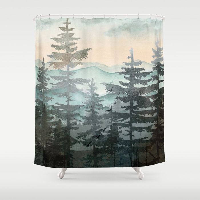 Pine Trees Shower Curtain Tree Shower Curtains Tapestry