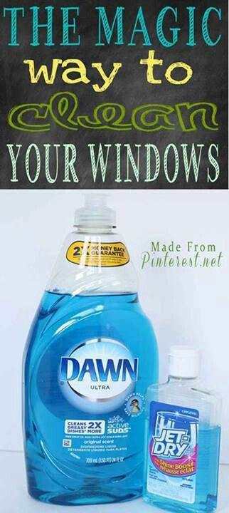 """Magic Window Cleaner: No towel drying, no streaks, no spots!  Fill an empty spray bottle with:  1 tablespoon liquid """"Jet Dry""""  3 tablespoons blue Dawn dish soap  Fill to the top with water, shake.  Spray your wet windows with the solution, scrub all over with a sponge, immediately wash off, that's it!"""