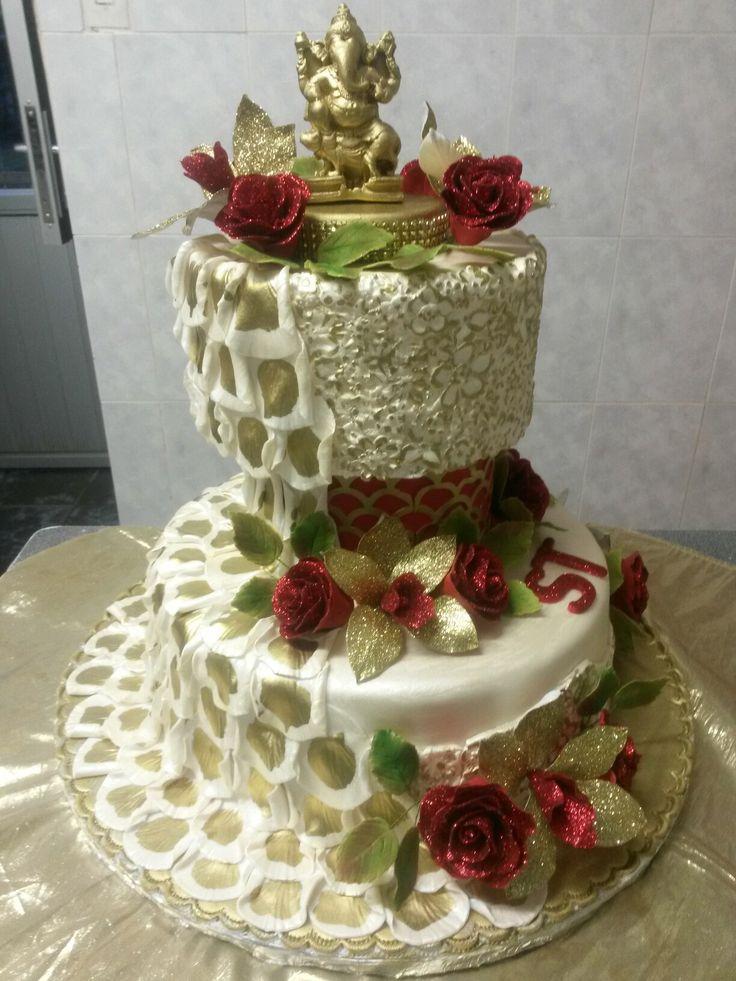 Gold Ganesha  wedding  cake