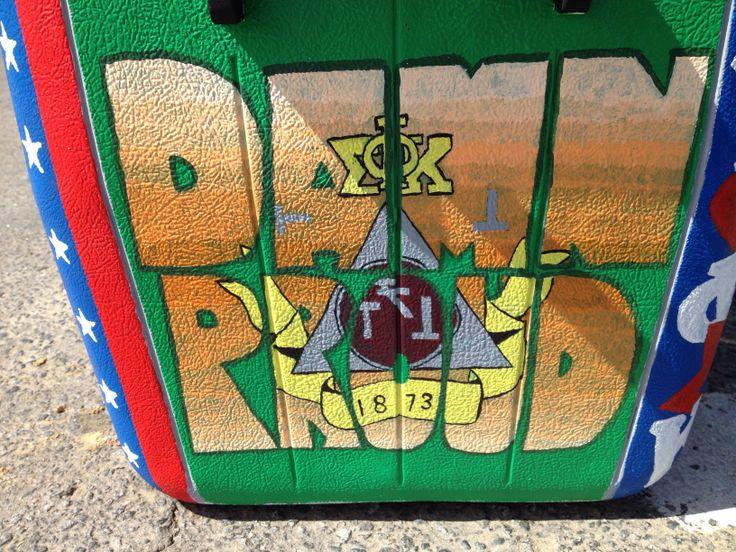 Fraternity cooler for Phi Sigma Kappa Beach Weekend #beachweekend #fraternity #frat #cooler #fraternitycooler #greek #phisigmakappa #damnproud