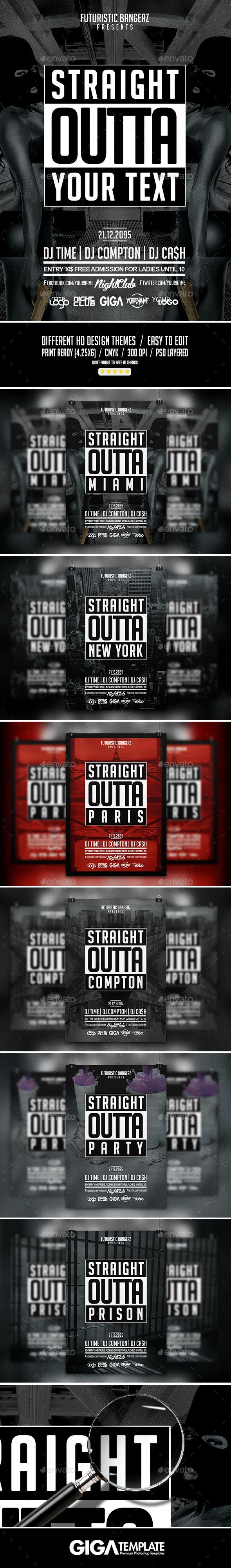 Straight Outta Party | Hip-Hop Flyer PSD Template #design Download: http://graphicriver.net/item/straight-outta-party-hiphop-flyer-psd-template/12577752?ref=ksioks