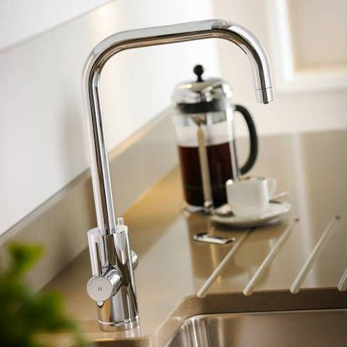 Abode Project monobloc kitchen tap in chrome finish. 4 in 1 features with Filtered Boiling Hot, Hot, Cold & Cold Filtered Water. Safety HotKey and PROBOIL3 under counter unit included. Only £1124 at Taps4Less. Free delivery throughout Ireland. https://www.taps4less.ie/Boiling-Water-Taps.html