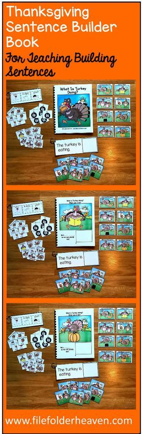 """This Thanksgiving Sentence Builder Book, """"What Is Turkey Doing?"""" focuses on identifying action words, building sentences, and sentence comprehension. In a small group, the teacher or therapist reads the story as students follow along and match the correct action to each page. Sample Text: """"What is Turkey doing? What can it be? He's.... __________ (eating pumpkin pie) as we can plainly see"""""""