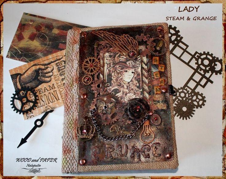"""Купить Блокнот """"Lady steam & grange"""" - бежевый, блокнот ручной работы, блокнот с нуля"""