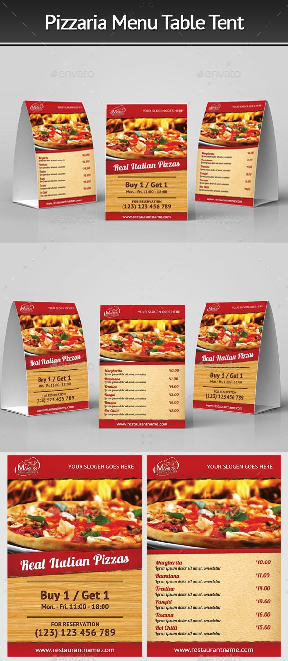 Pizzeria Menu Table Tent by Mograsol Pizzeria Menu Table Tent Suitable for any restaurant and fast food business. Easy to move or change if required. Files are structu