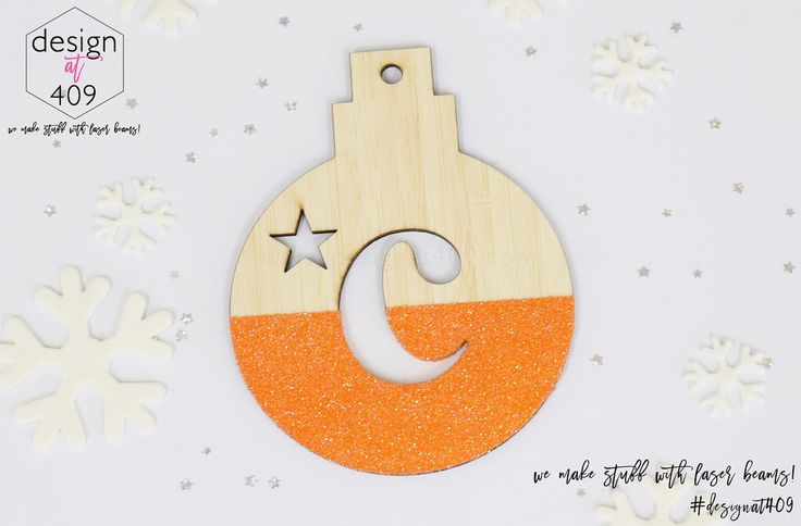 Initial With Star Christmas Tree Bauble 4 : Bamboo With Glitter : Design at 409
