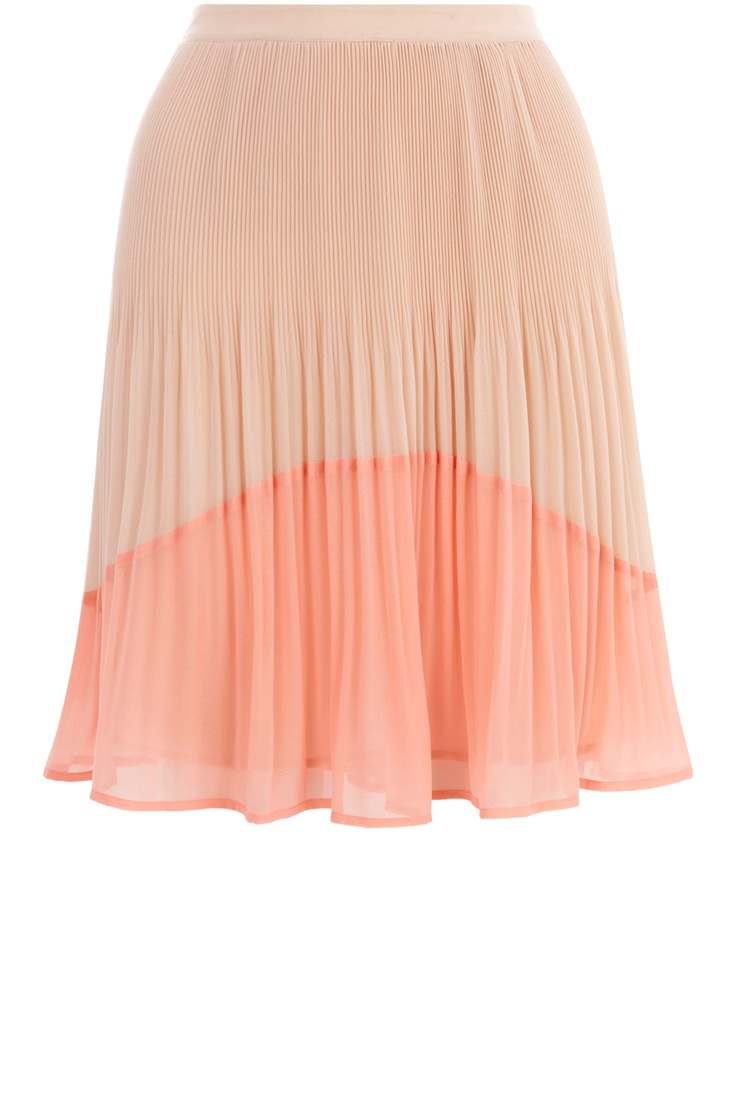 Oasis Skirts | Mid Pink Pleated Colourblock Skirt | Womens Fashion Clothing | Oasis Stores UK