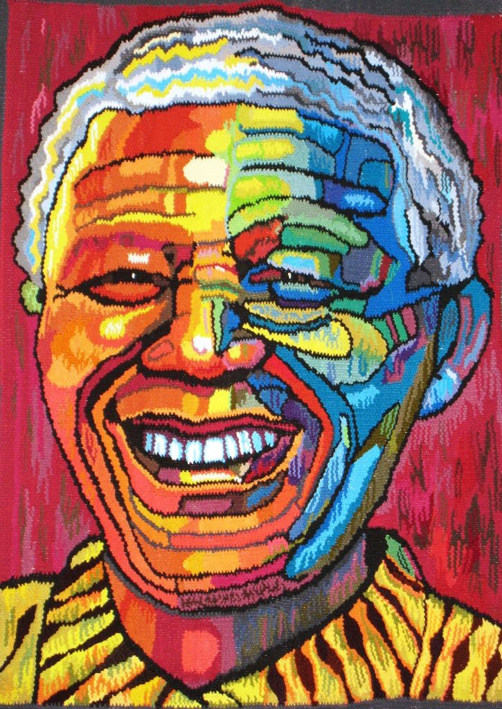 Nelson Mandela, handwoven tapestry. Education is the most powerful weapon which you can use to change the world.