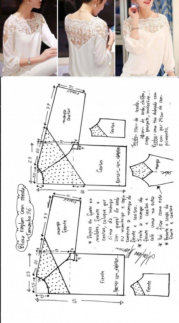 Blusa blanca manga Ranglan y Canesú delantero y trasero