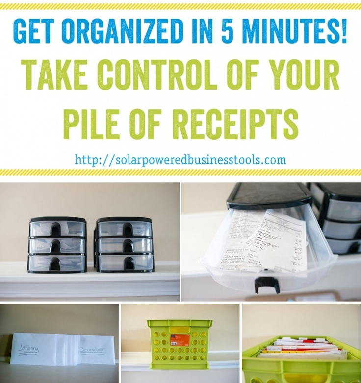 get organized in 5 minutes! take control of your pile of receipts