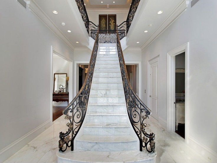 white marble staircase italian villa in glencoe il custom built by tara designer homes - Design Homes Inc