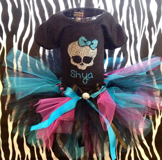 Sale--Size girls 4-16 Monster High look Birthday outfit -- t shirt plus a matching tutu --5 th, 6th,7th, 8th, 9th, 10th birthday