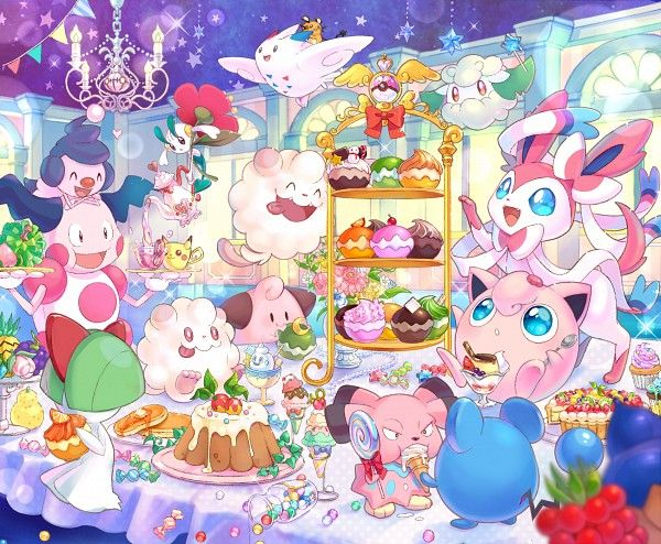 Fairy-Types - Mime Jr. Mr. Mime, Ralts, Floette, Swirlix, Cleffa, Togekiss, Snubbull, Cottonee, Sylveon, Jigglypuff, and Marill by Shiori